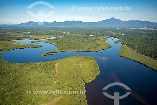 Foto aérea de trecho do Rio Garaguaçu  - Paranaguá - Paraná (PR) - Brasil