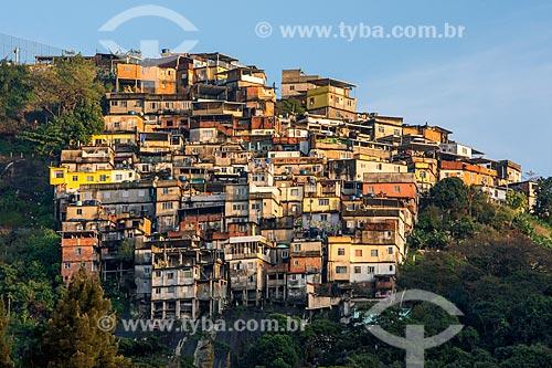 Vista geral do Morro dos Prazeres durante o amanhecer  - Rio de Janeiro - Rio de Janeiro (RJ) - Brasil