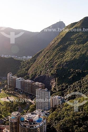 Vista do bairro da Lagoa a partir do Morro do Cantagalo com o Cristo Redentor ao fundo  - Rio de Janeiro - Rio de Janeiro (RJ) - Brasil