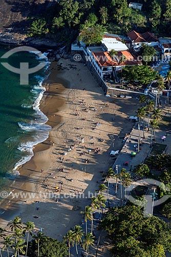 Vista da Praia Vermelha e do Círculo Militar da Praia Vermelha durante a travessia entre o Morro da Urca  - Rio de Janeiro - Rio de Janeiro (RJ) - Brasil