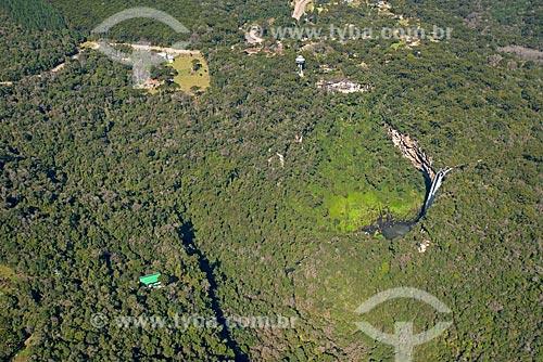 Foto aérea da Cascata do Caracol no Parque Estadual do Caracol  - Canela - Rio Grande do Sul (RS) - Brasil