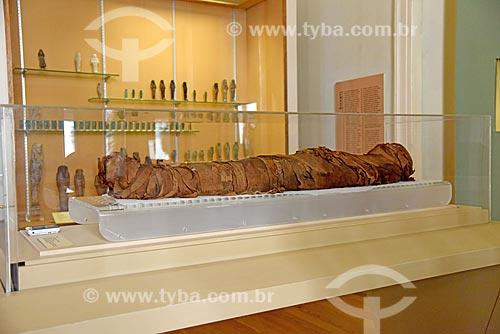 Múmia em exibição no Museu Nacional - antigo Paço de São Cristóvão  - Rio de Janeiro - Rio de Janeiro (RJ) - Brasil