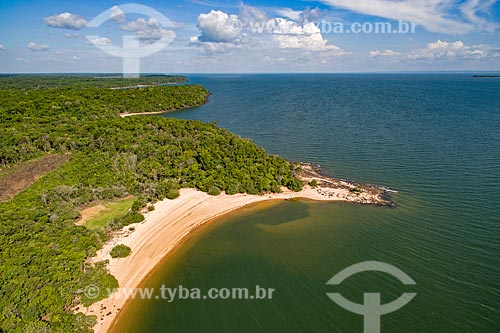 Foto aérea da conexão do encontro das águas do Rio Arapiuns e Rio Tapajós  - Santarém - Pará (PA) - Brasil
