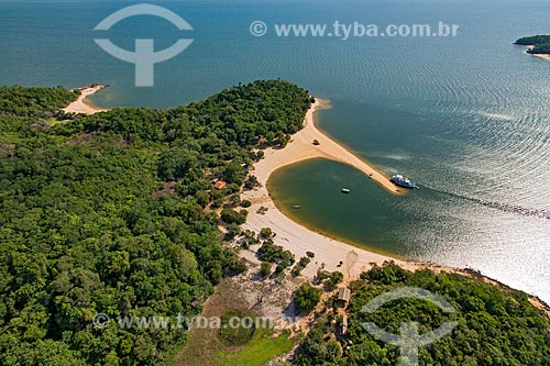 Foto aérea de praia fluvial no Rio Arapiuns  - Santarém - Pará (PA) - Brasil