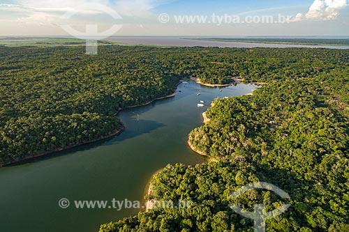 Foto aérea do Rio Arapiuns com o Rio Amazonas ao fundo  - Santarém - Pará (PA) - Brasil
