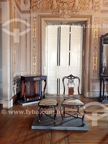 Móveis da Família Imperial Brasileira em exibição no Sala do Trono do Museu Nacional - antigo Paço de São Cristóvão  - Rio de Janeiro - Rio de Janeiro (RJ) - Brasil