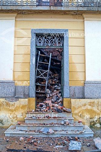 Detalhe do Museu Nacional - antigo Paço de São Cristóvão - após o incêndio de grandes proporções que destruiu quase a totalidade do acervo histórico  - Rio de Janeiro - Rio de Janeiro (RJ) - Brasil