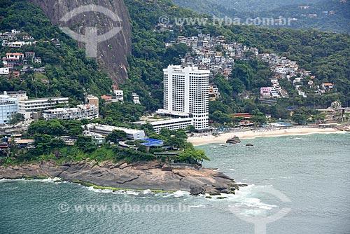 Foto aérea do Sheraton Rio Hotel & Resort com a Favela do Vidigal ao fundo  - Rio de Janeiro - Rio de Janeiro (RJ) - Brasil