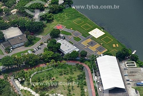 Foto aérea do heliponto da Cidade do Rio de Janeiro às margens da Lagoa Rodrigo de Freitas  - Rio de Janeiro - Rio de Janeiro (RJ) - Brasil