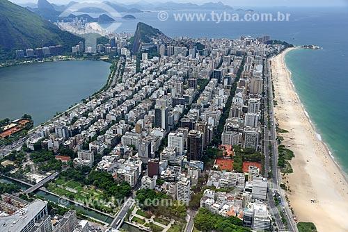 Foto aérea do canal do Jardim de Alah (1938) com prédios no bairro de Ipanema  - Rio de Janeiro - Rio de Janeiro (RJ) - Brasil