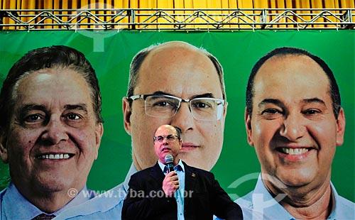 Wilson Witzel - candidato à governador pelo Partido Social Cristão (PSC) - durante comício no Clube Monte Sinai  - Rio de Janeiro - Rio de Janeiro (RJ) - Brasil
