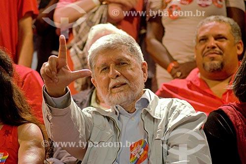 Celso Amorim durante comício da campanha de Fernando Haddad à presidência pelo Partido dos Trabalhadores (PT) na Cinelândia  - Rio de Janeiro - Rio de Janeiro (RJ) - Brasil