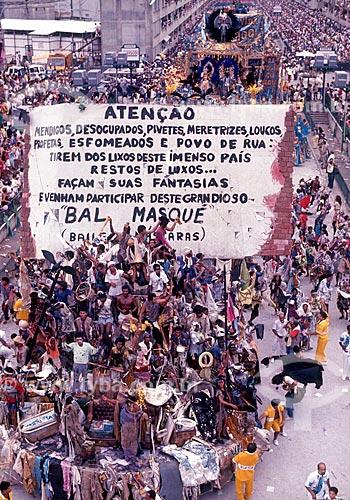 Desfile do Grêmio Recreativo Escola de Samba Beija-Flor - Carro alegórico - Enredo 1989 - Ratos e Urubus, Larguem a Minha Fantasia  - Rio de Janeiro - Rio de Janeiro (RJ) - Brasil