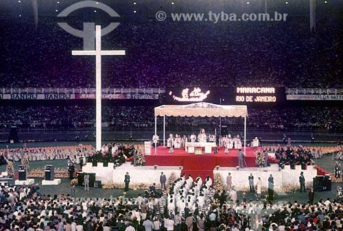 Missa Campal do celebrada pelo Papa João Paulo II no Estádio Jornalista Mário Filho - mais conhecido como Maracanã  - Rio de Janeiro - Rio de Janeiro (RJ) - Brasil