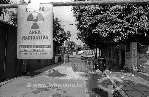 Placa indicando rua com foco de contaminação após o acidente com o césio-137 no Setor Central de Goiânia  - Goiânia - Goiás (GO) - Brasil