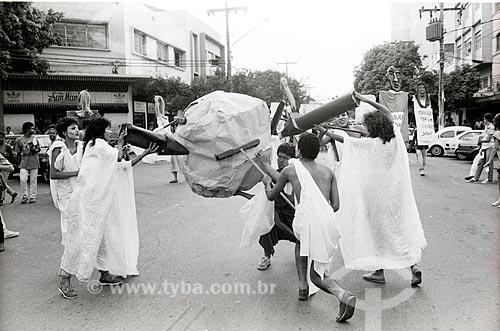 Manifestação contra a política nuclear após o acidente com o césio-137  - Goiânia - Goiás (GO) - Brasil
