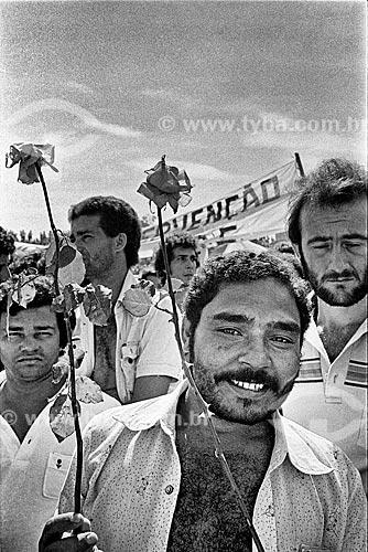 Detalhe de sindicalista durante assembleia na Vila Euclides em São Bernardo do Campo - década de 1980  - São Bernardo do Campo - São Paulo (SP) - Brasil