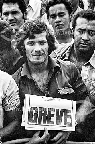 Detalhe de sindicalistas durante assembleia na Vila Euclides em São Bernardo do Campo - década de 1980  - São Bernardo do Campo - São Paulo (SP) - Brasil