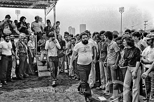 Assembleia no Estádio de Vila Euclides em São Bernardo do Campo - década de 1980  - São Bernardo do Campo - São Paulo (SP) - Brasil