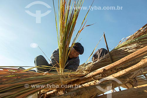 Índio fazendo a cobertura de oca com sapé na aldeia Aiha da tribo Kalapalo - ACRÉSCIMO DE 100% SOBRE O VALOR DE TABELA  - Querência - Mato Grosso (MT) - Brasil