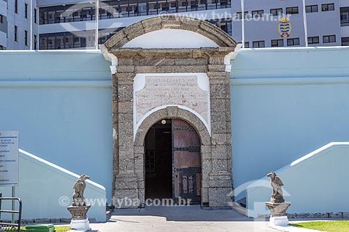 Pórtico de entrada da antiga Fortaleza de Nossa Senhora da Conceição de Villegagnon - hoje abriga a Escola Naval  - Rio de Janeiro - Rio de Janeiro (RJ) - Brasil