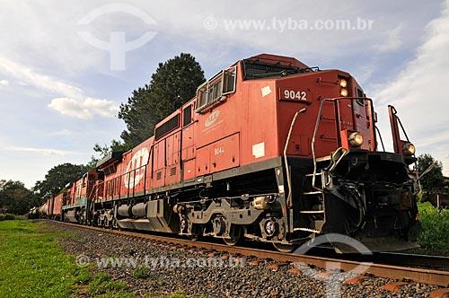Detalhe de trem de carga da antiga América Latina Logística S.A. (também conhecida como ALL) - atual Rumo Logística  - São José do Rio Preto - São Paulo (SP) - Brasil