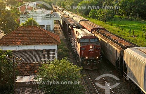 Detalhe de trem de carga da antiga América Latina Logística S.A. (também conhecida como ALL) - atual Rumo Logística durante o pôr do sol  - Uchoa - São Paulo (SP) - Brasil