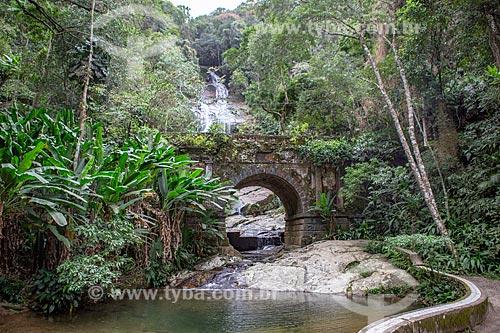 Vista da Ponte Job de Alcântara (1862) no Parque Nacional da Tijuca com a Cascatinha Taunay  - Rio de Janeiro - Rio de Janeiro (RJ) - Brasil