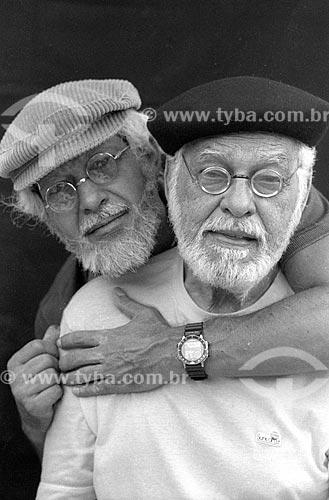 Ator Gracindo Junior abraçando seu pai Paulo Gracindo - década de 90