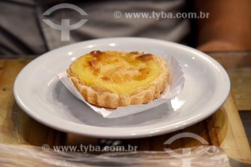 Detalhe de pastel de nata em restaurante do Centro de Abastecimento da Guanabara (CADEG)  - Rio de Janeiro - Rio de Janeiro (RJ) - Brasil