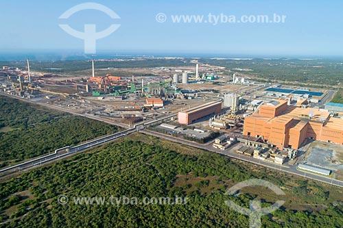 Foto feita com drone da Companhia Siderúrgica do Pecém - parte do Complexo Industrial e Portuário do Pecém  - São Gonçalo do Amarante - Ceará (CE) - Brasil