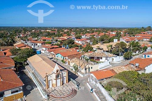 Foto feita com drone da cidade de Beberibe com a Capela de São Pedro  - Beberibe - Ceará (CE) - Brasil