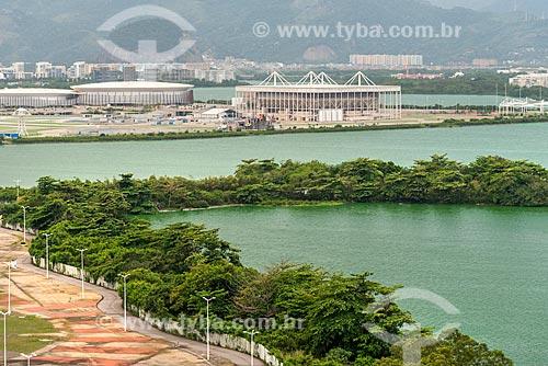 Vista da Lagoa de Jacarepaguá com o Parque Olímpico Rio 2016 ao fundo  - Rio de Janeiro - Rio de Janeiro (RJ) - Brasil
