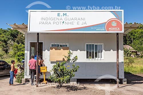 Entrada da Escola Municipal Indígena Bilíngue Guarani Para Poty Nhe Já (Português - Guarani) na Aldeia Mata Verde Bonita (Tekoa Ka Aguy Ovy Porã) da Tribo Guarani  - Maricá - Rio de Janeiro (RJ) - Brasil