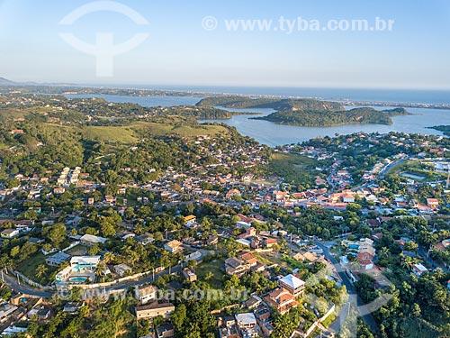 Foto feita com drone da cidade de Maricá com a Lagoa da Barra de Maricá - também conhecida como Lagoa do Boqueirão - e mar ao fundo   - Maricá - Rio de Janeiro (RJ) - Brasil