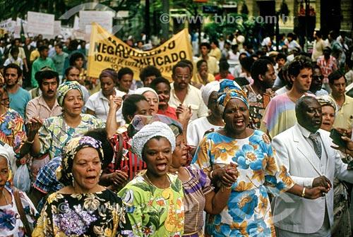 Passeata pelos 100 anos da Abolição da Escravatura  - São Paulo - São Paulo (SP) - Brasil