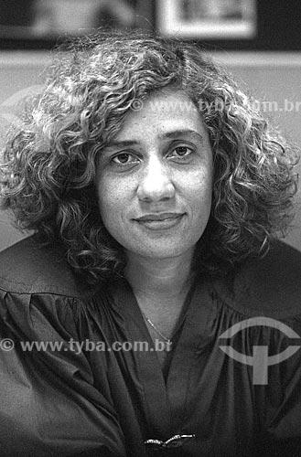 Detalhe da jornalista Miriam Leitão - década de 80  - Rio de Janeiro - Rio de Janeiro (RJ) - Brasil