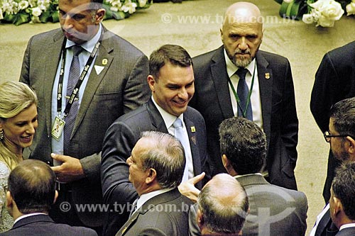 Senador Flávio Bolsonaro no plenário da Câmara dos Deputados durante a cerimônia de posse presidencial de Jair Bolsonaro  - Brasília - Distrito Federal (DF) - Brasil