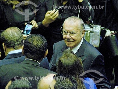 Ex-presidente José Sarney no plenário da Câmara dos Deputados durante a cerimônia de posse presidencial de Jair Bolsonaro  - Brasília - Distrito Federal (DF) - Brasil