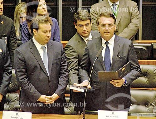 Presidente Jair Bolsonaro durante a leitura do juramento à nação no plenário da Câmara dos Deputados - cerimônia de posse presidencial  - Brasília - Distrito Federal (DF) - Brasil