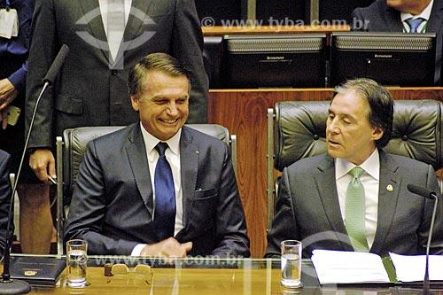 Presidente Jair Bolsonaro e o Senador Eunício Oliveira - presidente do Senado Federal - no plenário da Câmara dos Deputados durante a cerimônia de posse presidencial  - Brasília - Distrito Federal (DF) - Brasil