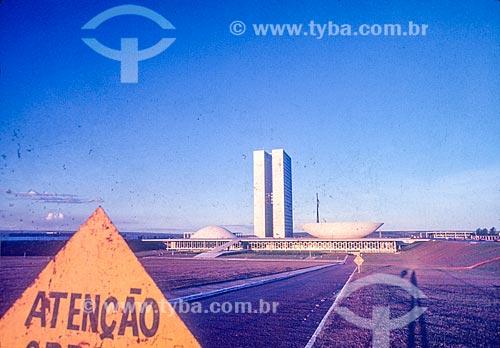 Fachada do Congresso Nacional durante a construção de Brasília  - Brasília - Distrito Federal (DF) - Brasil