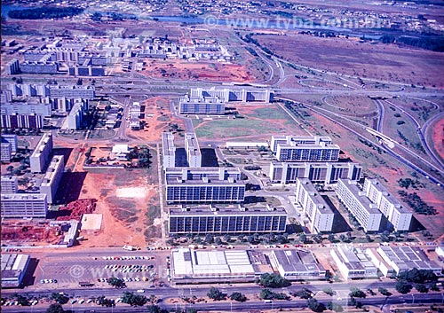 Foto aérea durante a construção de Brasília  - Brasília - Distrito Federal (DF) - Brasil