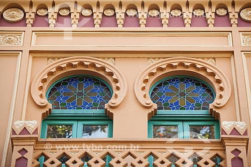 Detalhe da fachada do Teatro Riachuelo Rio (1890) - antigo Cine Palácio  - Rio de Janeiro - Rio de Janeiro (RJ) - Brasil