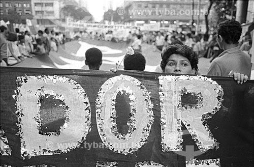 Trecho de faixa que diz: Dor durante manifestação pela Campanha das Diretas Já  - Rio de Janeiro - Rio de Janeiro (RJ) - Brasil