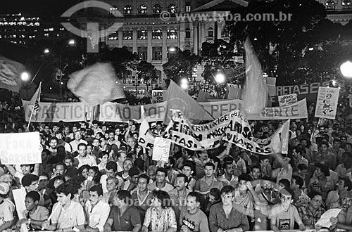 Manifestação pela Campanha das Diretas Já na Cinelândia  - Rio de Janeiro - Rio de Janeiro (RJ) - Brasil