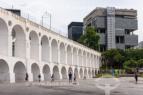 Vista do Arcos da Lapa (1750) com o Edifício Sede da Petrobras ao fundo  - Rio de Janeiro - Rio de Janeiro (RJ) - Brasil