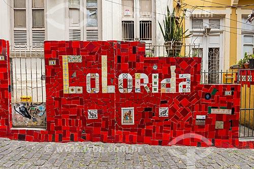 Detalhe de muro de casa na Escadaria do Selarón  - Rio de Janeiro - Rio de Janeiro (RJ) - Brasil
