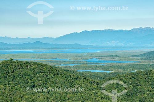 Vista geral do Parque Nacional de Saint-Hilaire/Lange com a Baía de Guaratuba ao fundo  - Guaratuba - Paraná (PR) - Brasil