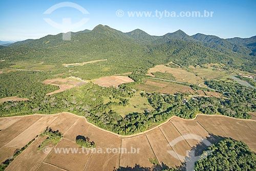 Foto aérea de plantação próximo ao Parque Nacional de Saint-Hilaire/Lange  - Guaratuba - Paraná (PR) - Brasil
